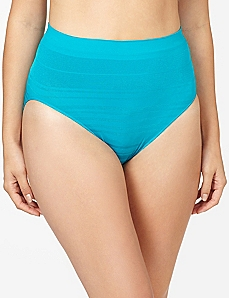 Aqua Shadow Stripe Seamless Hi-Cut Brief