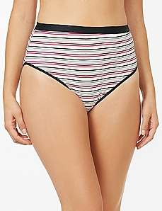 Layered Stripe Cotton Hi-Cut Brief