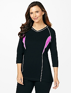 Neon Piped 3/4-Sleeve Top