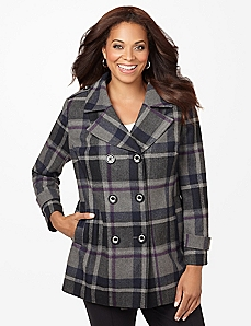 Positively Plaid Peacoat