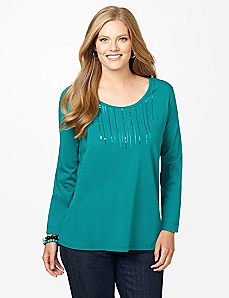 Sequin Stream Long-Sleeve Top