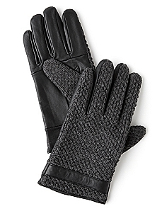 Braided Knit Leather Gloves