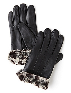 Snow Leopard Leather Gloves