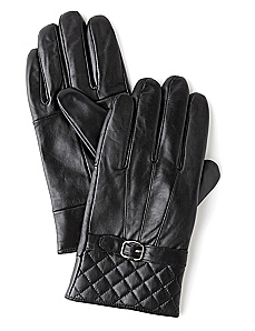 Quilted Buckle Leather Gloves