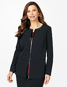 Leatherette Trim Jacket