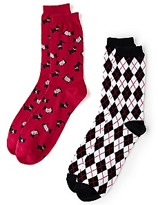 Argyle Scottie Dog 2-Pack Socks