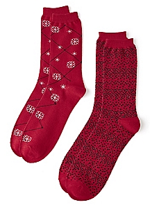 Snowflake Argyle 2-Pack Socks