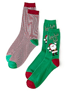Santa & Stripes 2-Pack Socks