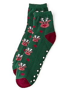 Red Nose Reindeer Slipper Socks