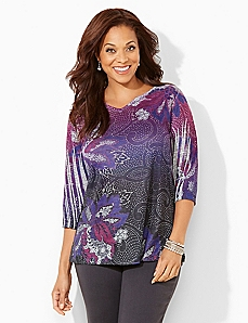 Ink-Dot Paisley Top