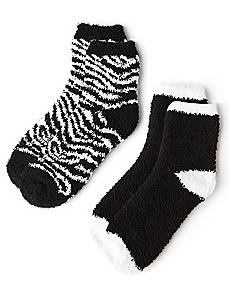 Plush Zebra & Colorblock 2-Pack Socks