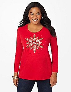 Snowflake Sparkle Long-Sleeve Tee