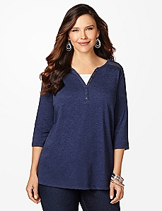 Layered-Look Henley Top