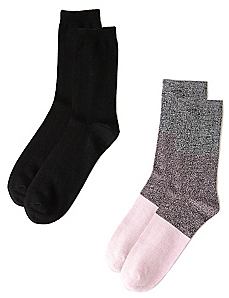 Pink Colorblock & Black 2-Pack Socks