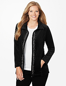 Rhinestone Velour Jacket