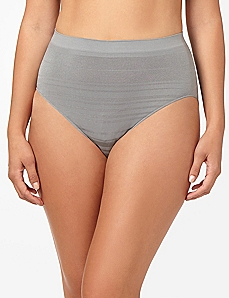 Grey Shadow Stripe Seamless Hi-Cut Brief