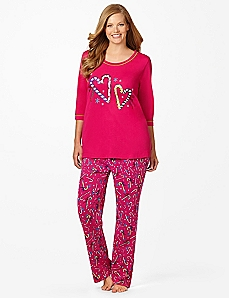 Heart Candy Cane Pajamas