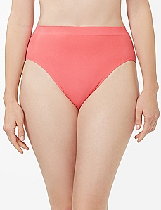 Pink Solid Seamless Hi-Cut Brief