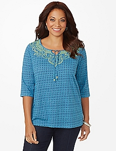 Geo-Diamond Peasant Top