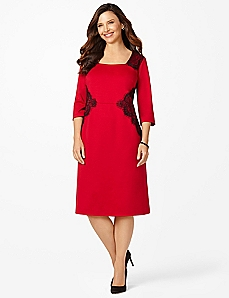 Contour Lace Ponte Dress