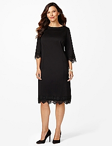 Lace-Trim Ponte Dress