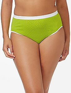 Green & White Pindot Cotton Hi-Cut Brief