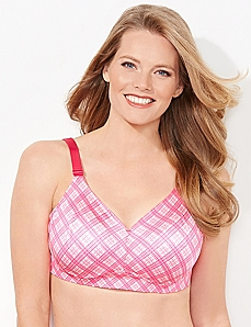Pink Plaid No-Wire Back-Smoother Bra
