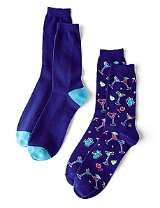 Cocktails & Colorblocking 2-Pack Socks