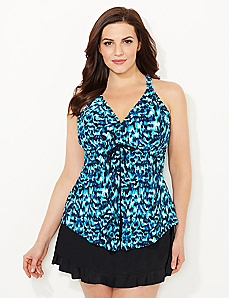 Palm Print Flyaway Swim Top