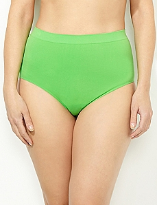 Green Solid Seamless Full Brief