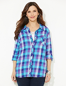 Shimmer Plaid Buttonfront