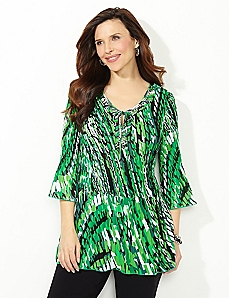 Geo-Swirl Pleated Top
