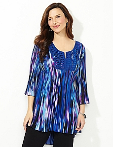 Neon Waves Pleated Top