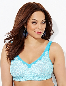 Aqua Geo Triangle No-Wire Cotton Comfort Bra