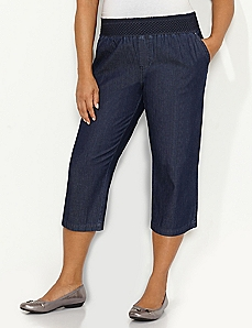 Smocked Waist Denim Capri