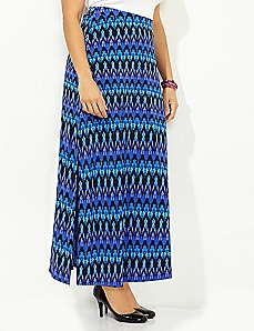 Linear Print Maxi Skirt