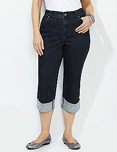 Embroidered Cuff Capri