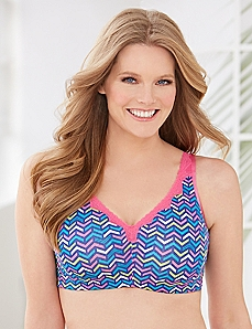 Pink Chevron No-Wire Cotton Comfort Bra