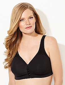 Black Front-Close No-Wire Cotton Comfort Bra