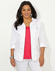 Lace-Up Sateen Jacket