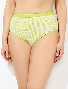 Bright Green Gingham Cotton Hi-Cut Brief