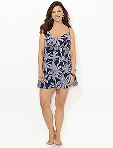 Bubble Leaf Ruffle Swimdress