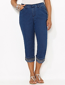 Embroidered Denim Cuff Capri