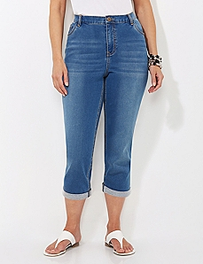 Knit Denim Roll-Cuff Capri