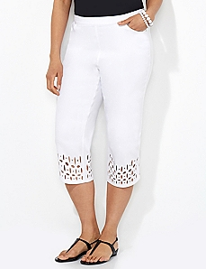 Eyelet Trim Denim Capri