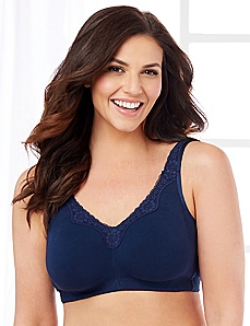 Navy No-Wire Cotton Comfort Bra