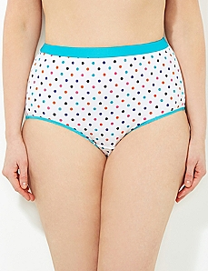 Turquoise Color Dot Cotton Full Brief