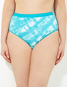 Turquoise Tie-Dye Cotton Hi-Cut Brief