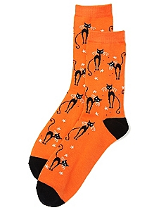 Black Cat Crew Socks