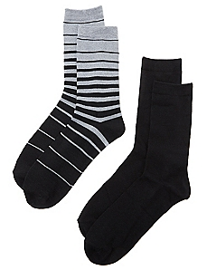2-Pack Solid & Stripe Socks